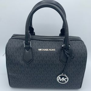 Michael Kors Bedford Large Duffle Satchel In Black